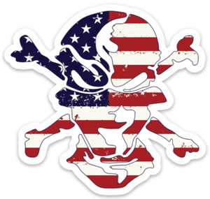American Flag Skull Sticker - Flats Pirate Fishing Apparel