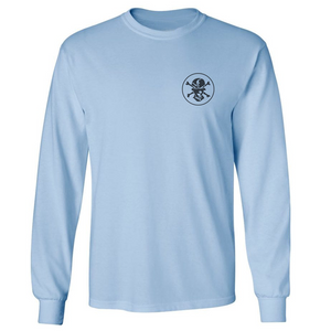 Blue 'Polling Pirate' T-shirt Long Sleeve - Flats Pirate Fishing Apparel