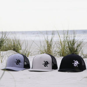 Embroidered Skull 6 Panel Trucker Gray/Black