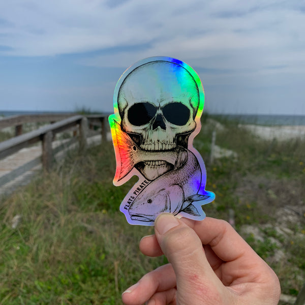 Skull Redfish Holographic Sticker - Flats Pirate Fishing Apparel