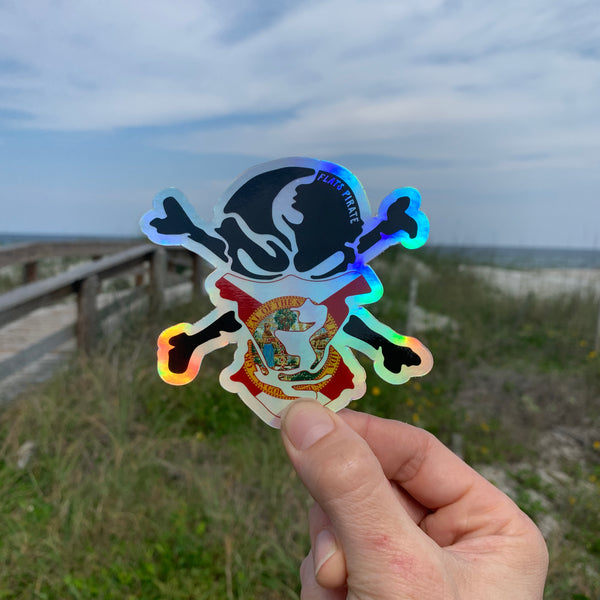 Florida Flag Buff Holographic Sticker - Flats Pirate Fishing Apparel