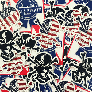 Black Flats Pirate Skull Sticker - Flats Pirate Fishing Apparel