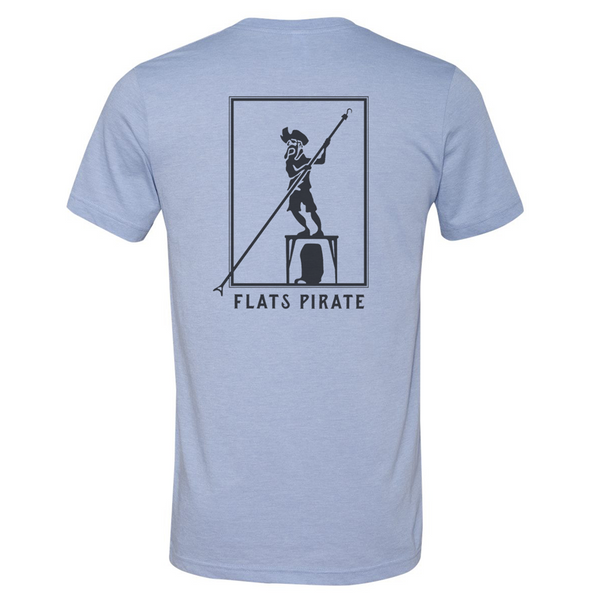 Blue 'Polling Pirate' T-shirt - Flats Pirate Fishing Apparel