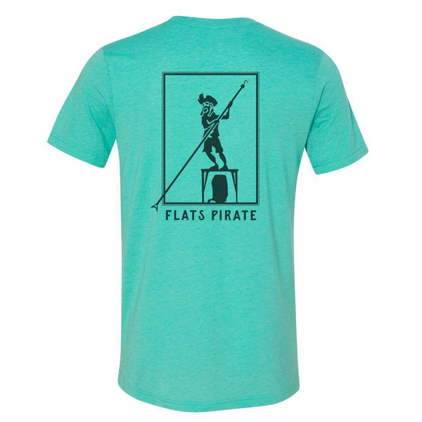 Sea Green 'Polling Pirate' T-shirt - Flats Pirate Fishing Apparel