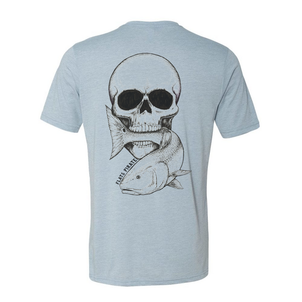 Vintage Skull & Redfish T-Shirt, Blue - Flats Pirate Fishing Apparel