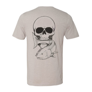 Vintage Skull & Redfish T-Shirt, Silver - Flats Pirate Fishing Apparel