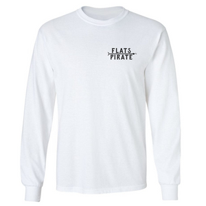 White 'Classic' T-shirt Long Sleeve - Flats Pirate Fishing Apparel