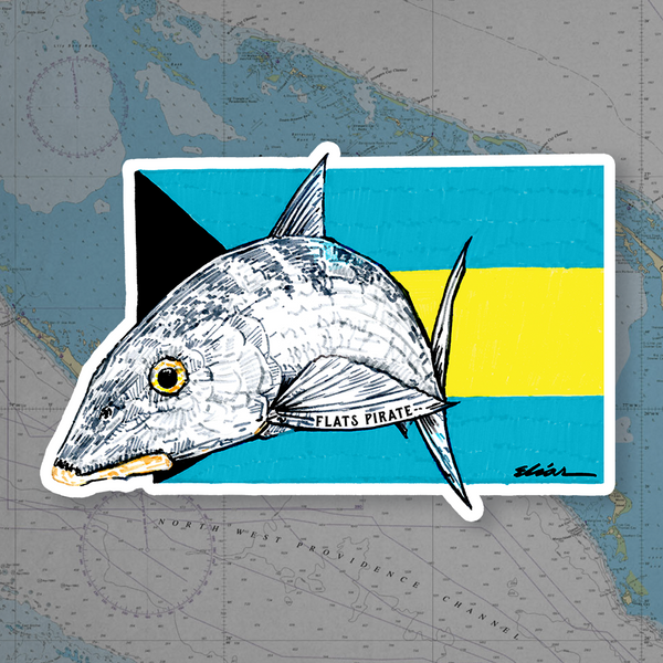Bahamas Bonefish Flag Sticker - Flats Pirate Fishing Apparel