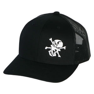 Embroidered Skull 6 Panel Trucker Black
