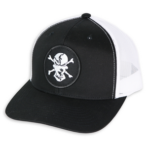 Black/White 6 Panel Trucker Hat - Flats Pirate Fishing Apparel