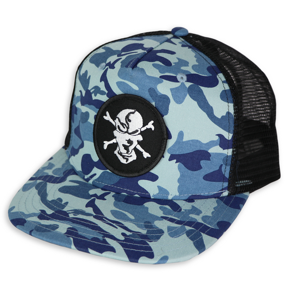 Water Camo 5 Panel Trucker Hat - Flats Pirate Fishing Apparel