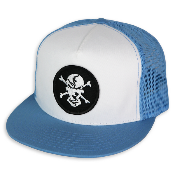 Carolina Blue/White 5 Panel Trucker Hat - Flats Pirate Fishing Apparel