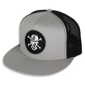 Silver/Black 5 Panel Trucker Hat