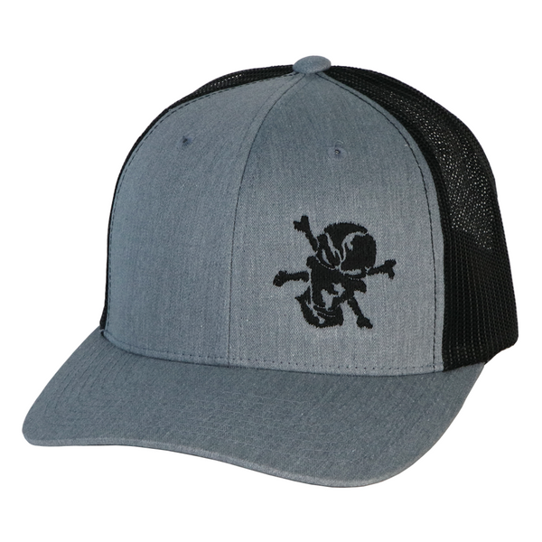 Embroidered Skull 6 Panel Trucker Gray/Black - Flats Pirate Fishing Apparel