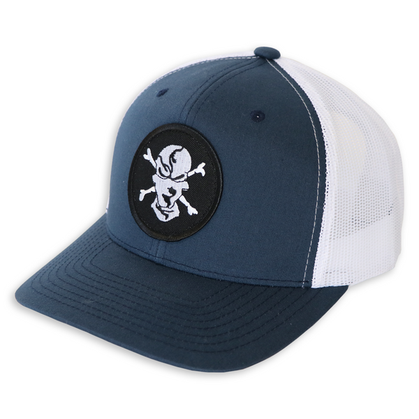 Navy/White 6 Panel Trucker Hat - Flats Pirate Fishing Apparel