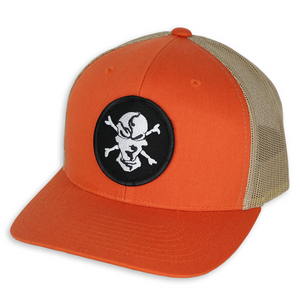 Orange/Khaki 6 Panel Trucker Hat - Flats Pirate Fishing Apparel