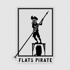 Polling Pirate Clear Sticker Black - Flats Pirate Fishing Apparel