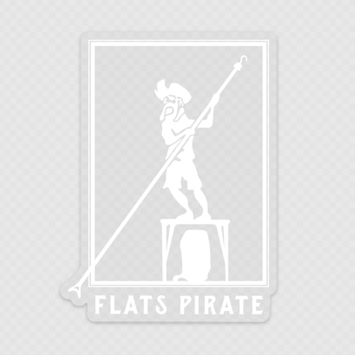 Polling Pirate Clear Sticker White - Flats Pirate Fishing Apparel