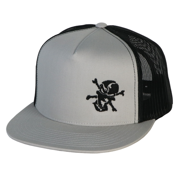 Embroidered Skull 5 Panel Trucker Silver/Black
