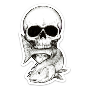 Skull Redfish Sticker - Flats Pirate Fishing Apparel