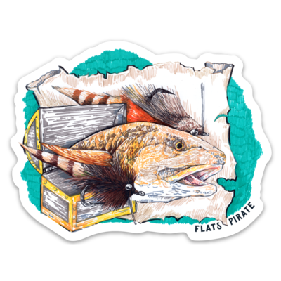 Tailing Treasure Redfish Sticker