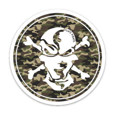 Camouflage Skull Sticker - Flats Pirate Fishing Apparel