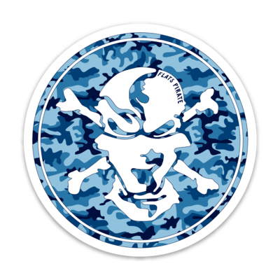 Water Camouflage Skull Sticker - Flats Pirate Fishing Apparel