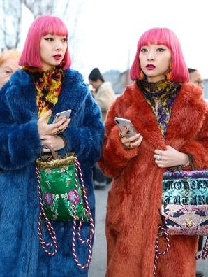 Ami and Aya Suzuki on the streets at Paris Fashion Week 2018