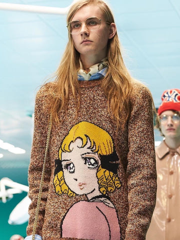 Ide's anime drawing on Gucci Fall/Winter 2018 Collection at Milan Fashion Week