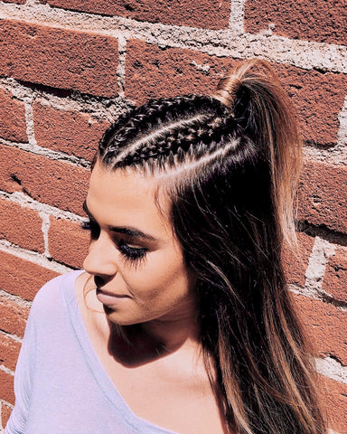 Cute braided and half pony hairstyles from Coachella 2018