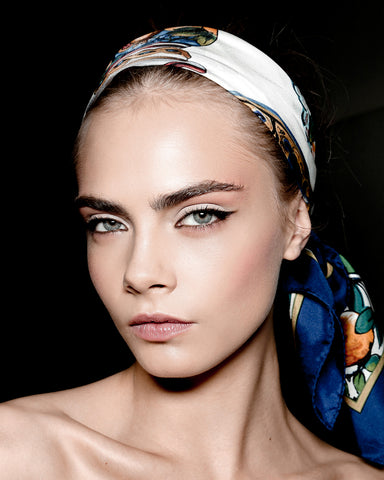Cara Delevingne in dolce and gabbana silk scarf as headband