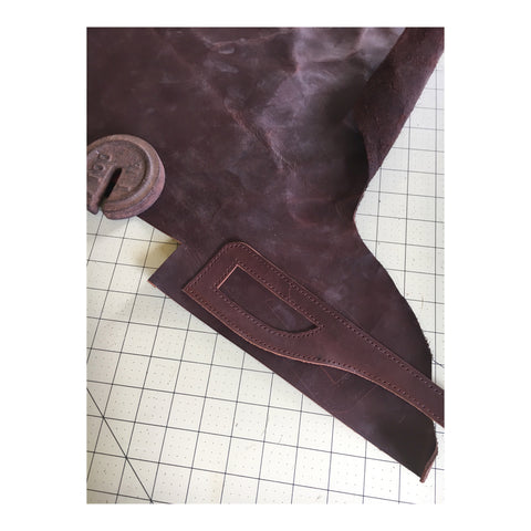 Handsewn leather clutch handbag pattern piece