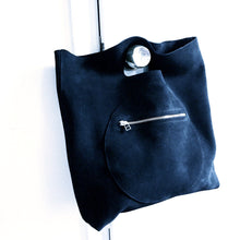 Load image into Gallery viewer, Large Suede Circle Pocket Tote Bag