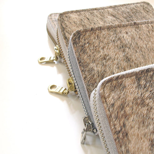 Britta Keenan Light Brindle Natural Cowhide & Veg Tan Leather Small Zip Card Wallet