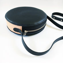 Britta Keenan Black & Natural Veg Tan Leather Circle Crossbody Bag