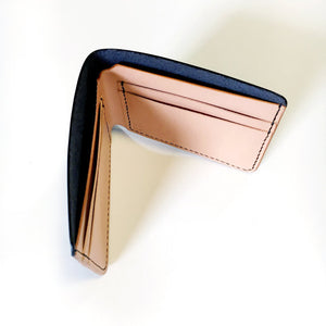 Britta Keenan Black and Natural Veg Tan Bifold Wallet
