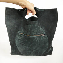 Large Suede Circle Pocket Tote Bag