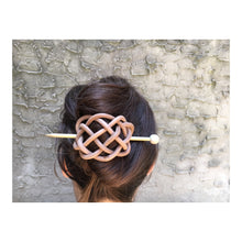 Woven Leather Hair Slide with Brass Pin