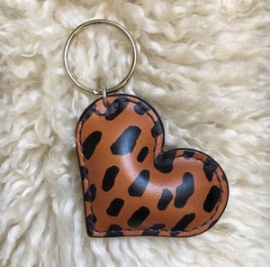 Cheetah Print Leather Heart Keychain