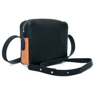 Britta Keenan Black & Natural Veg Tan Leather Rectangular Crossbody Bag