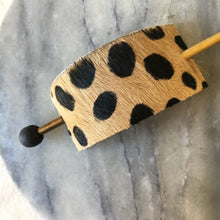 Cheetah Print Leather Hair Slide with Brass Pin black bead