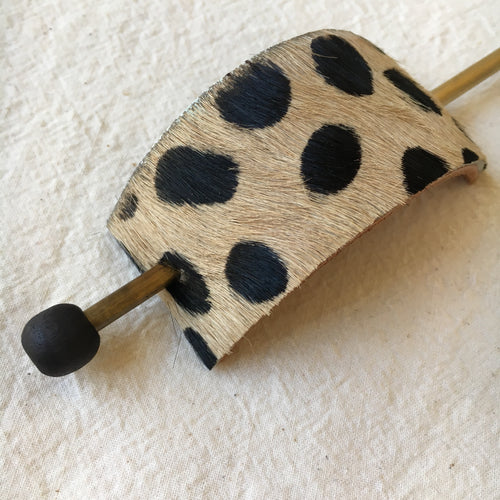 Cheetah Print Leather Hair Slide with Brass Pin