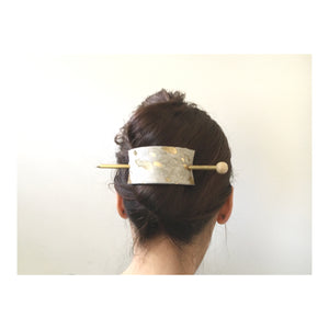 Gold Splash Print Leather Hair Slide with Brass