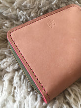 Load image into Gallery viewer, Veg Tan Leather Zip Wallet Detail