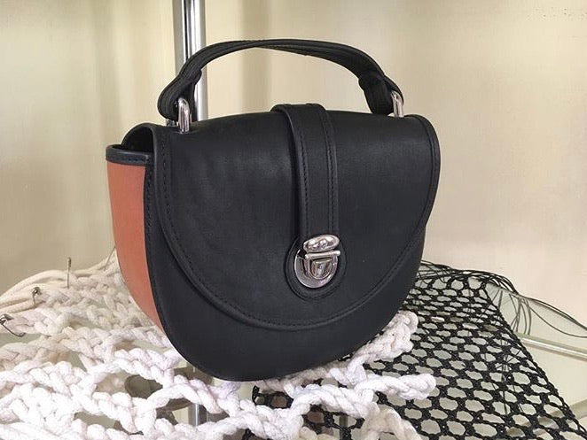 Two Tone Top Handle Saddle Bag