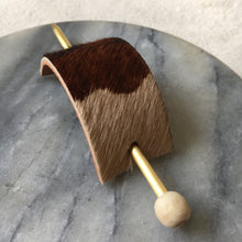 Load image into Gallery viewer, Brown and Cream Leather Hair Slide with Brass Pin