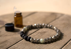 Diffuser Bracelet: Green & Silver Crystals