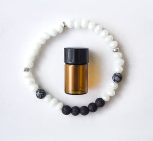 Diffuser Bracelet: Crystals with Snowflake Obsidian