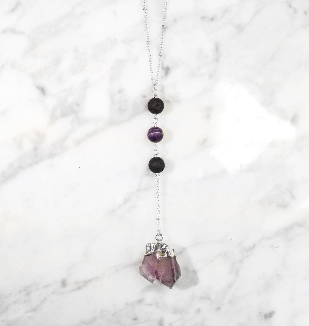 Diffuser Necklace: Raw Amethyst Necklace