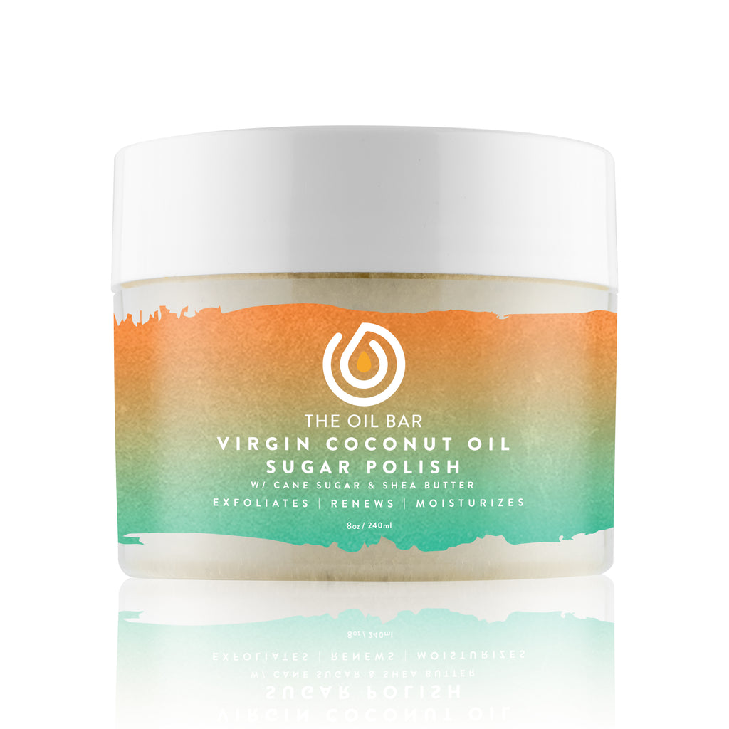 Virgin Coconut Oil Sugar Polish infused with CBD Oil